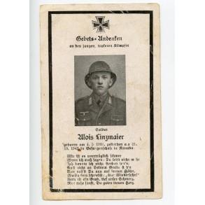 Death card Afrikakorps soldier Alois Linzmaier died in Canada