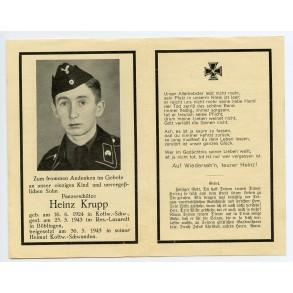 Deat card to panzer crew member H. Krupp, KIA 25.5.43