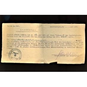 Money receipt in May 1945, Scheveningen, Holland 1945