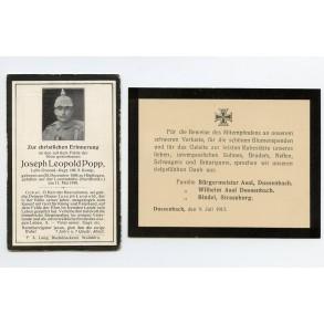 WW1 death card tp J L Popp, KIA Lorettohöhe 1915