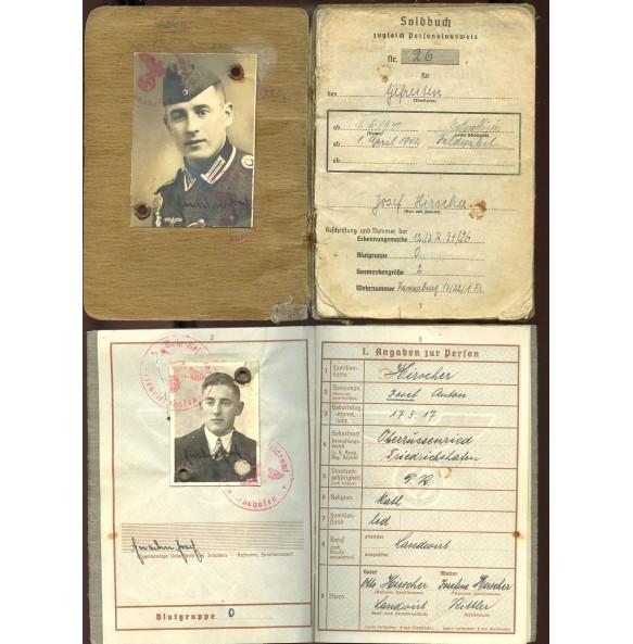 Soldbuch + Wehrpass to Feldwebel J. Hirscher, IR91, IR331, WIA 6.6.1940, EK1, EK2, IAB,...