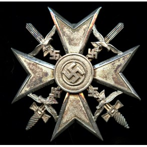 """Spanish cross in silver with swords, 1939 awarded """"835"""" example"""