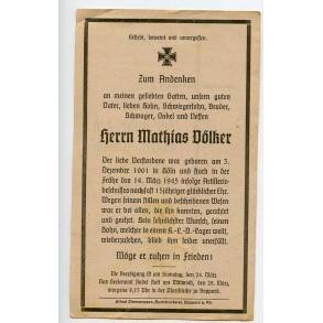 Death card to M. Völker, KIA Aachen March 1945