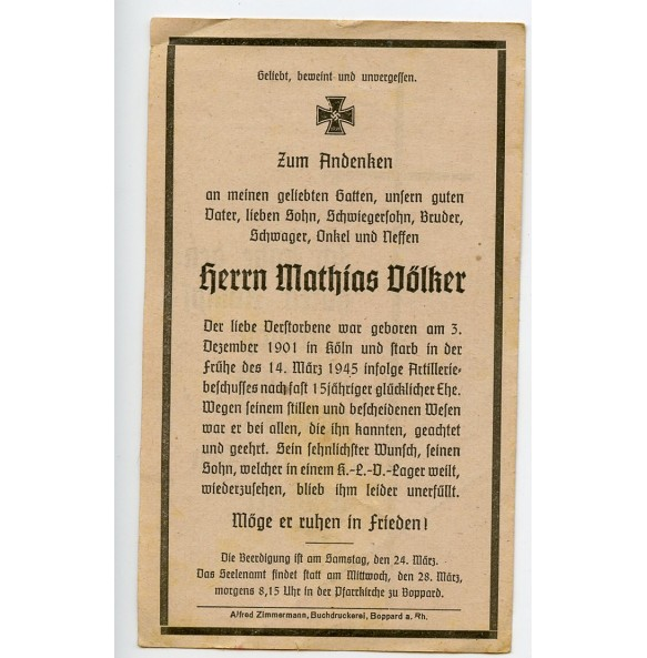 Death card to M. Völker, KIA Aachen March 1945