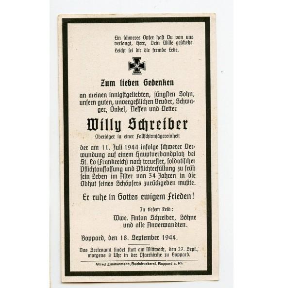 Death card to  FJ Oberjäger W. Schreiber, FJ Rgt! KIA St. Lo, Normandy 1944