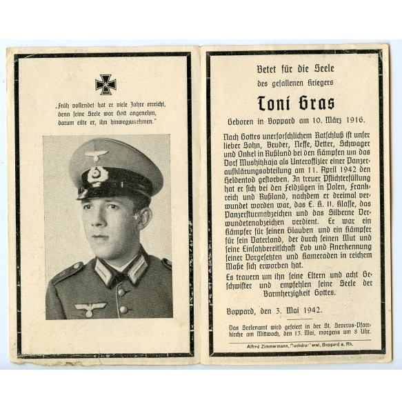Death card to T. Gras, Aufkl. Abt, PAB bronze, EK2, WBiS KIA Mushitzkaja, 1942