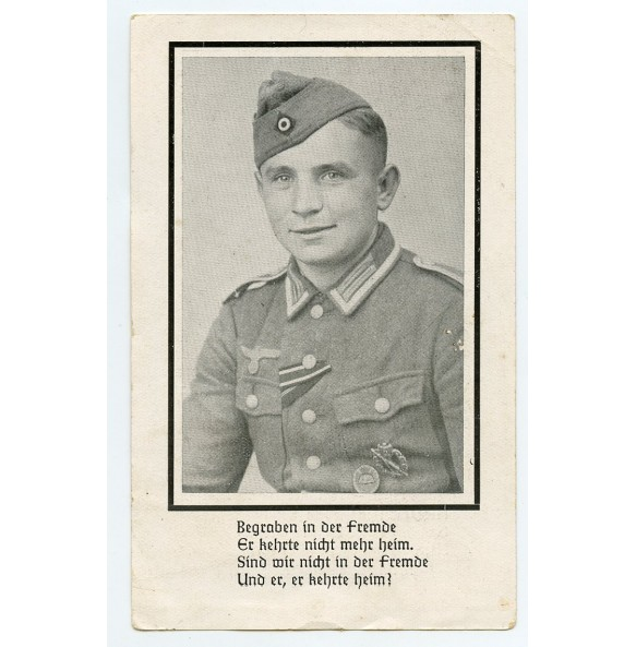 Death card to Uffz. H. Stein, KIA Caen, Normandy 1944