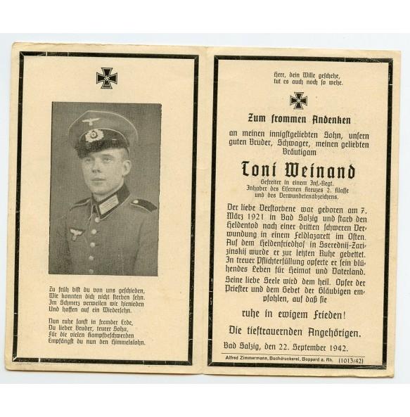 Death card to Gefr. Toni Weinand, EK2, VWA, KIA Sserednij-Zarizinksii, Russia 1942