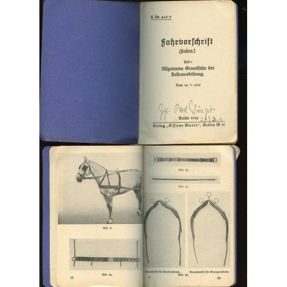"2 instruction manuals for horse driving ""Fahrvorschrift"""