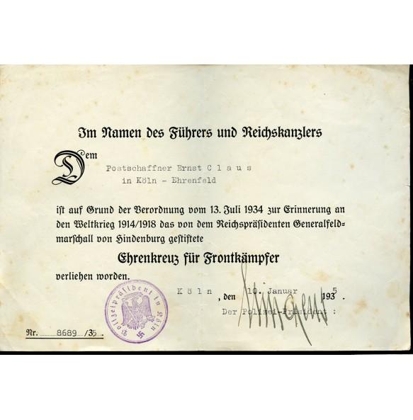 1914-18 Honour cross award document