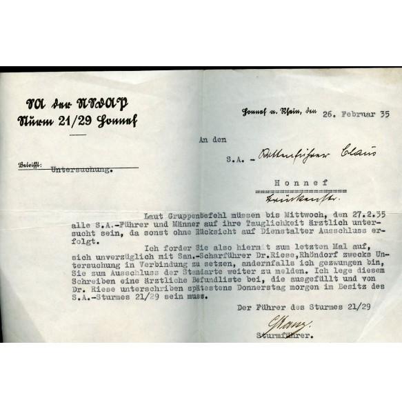 """SA der NSDAP """"Sturm 21/29 Honnef am Rhein"""" document 1935"""
