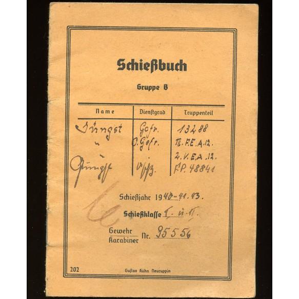 """Shooting booklet from sniper Uffz. Jüngst """"scharfschütze"""" 800m target, March 1944"""