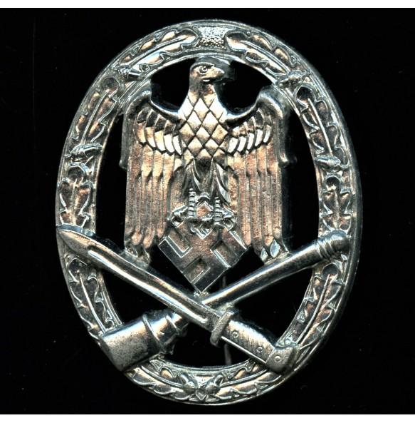 General assault badge in silver by Wilhelm Deumer CHROME