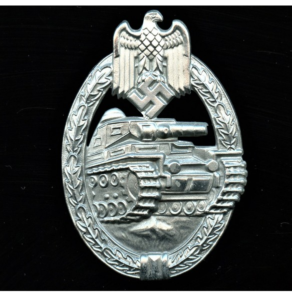 Panzer assault badge in silver by Frank & Reif
