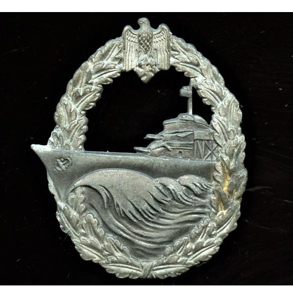 "Kriegsmarine destroyer badge in silver by Sohni, Heubach & Co ""ShuCo"""