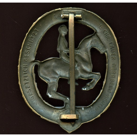 "Horseman's badge in bronze (""Reiter Bronze"") by Chr. Lauer"
