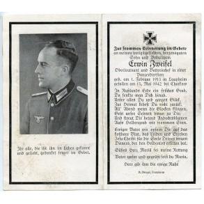 Death card to Oltn. E. Zweifel, Batteriechef Pz. Division, KIA Charkow