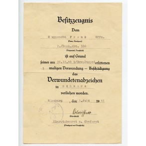 Award document for wound badge in black to Uffz. F. Rupprecht Beob. Abt. 556