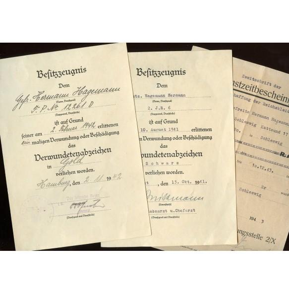 Wound badge in GOLD award document grouping to Gefr. H. Hagemann, Demjansk 1942