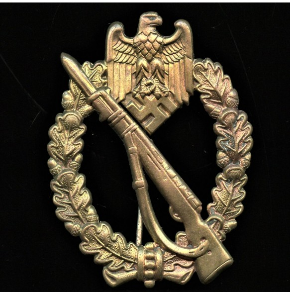 """Infantry assault badge in bronze by O. Schickle """"L/18"""" pin mark"""