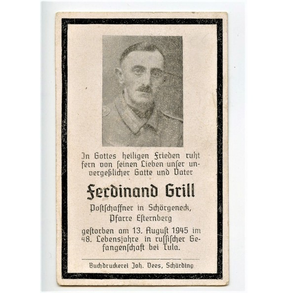 Death card to F. Grill, killed in a Russian prison camp, Tula 1945