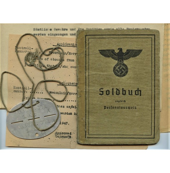 Soldbuch to Uffz. A. Hamel, GJR139, IAB, lappland shield!