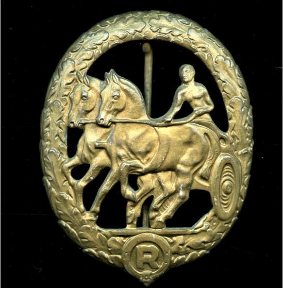 Horse driver's badge in bronze