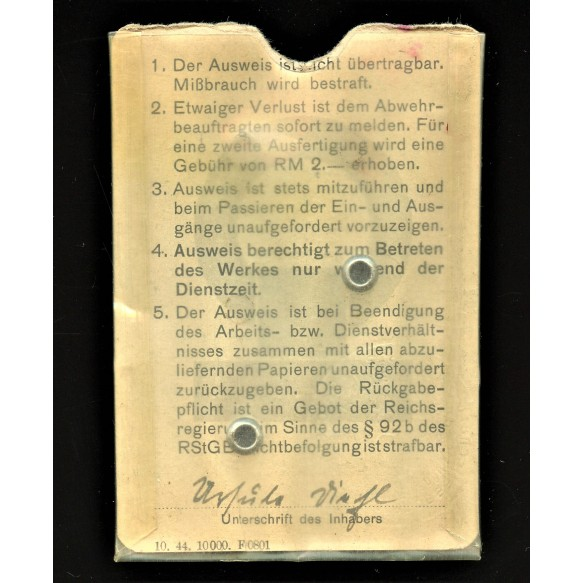 """Employee pass """"Reichswerke Hermann Göring"""" 1945"""