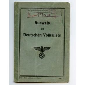 "ID card ""Deutsche Volksliste"" for Volksdeutscher from Oberschlesien"