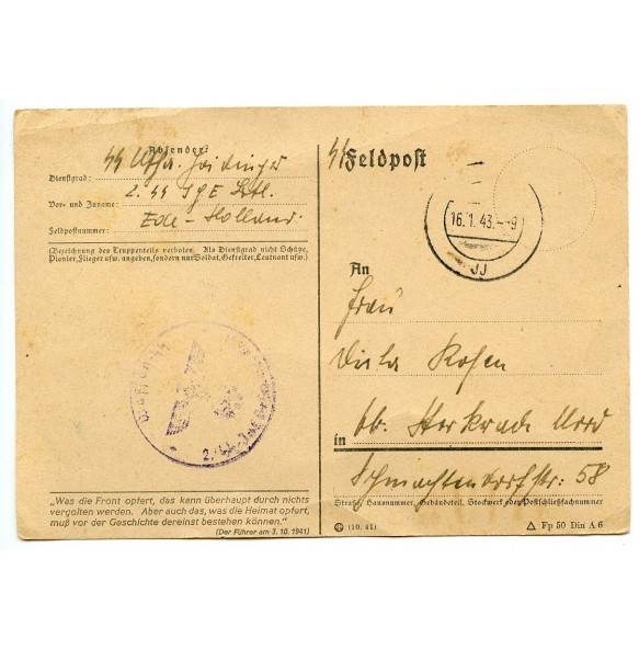 SS Feldpost from SS-Uscha Sepp Heidrich, Ede, Holland 1943