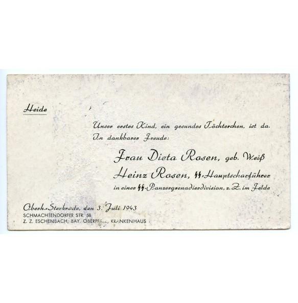 Birth card from the daughter of SS-Hauptscharführer Heinz Rosen, SS pz. Gren. Div.