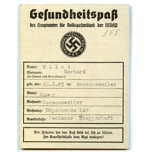 NSDAP health pass to G. Wilms
