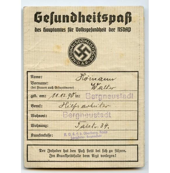 NSDAP health pass to W. Hörmann