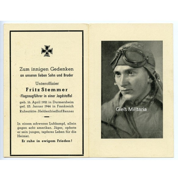 Death card to Uffz. F. Stemmer, Fw 190 fighter pilot JG2, KIA Bretagne, France 1944