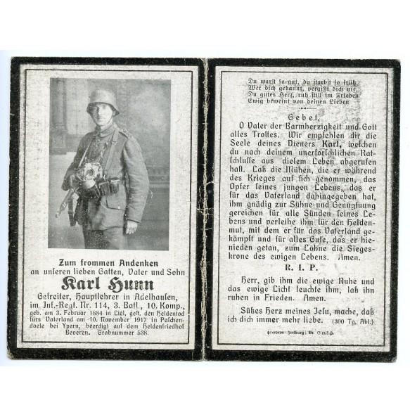 WW1 Death card to Gefr. K. Hunn, KIA Paschendaele, Ypers 1917