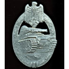 "Panzer assault badge in silver by Hermann Aurich ""HA"""