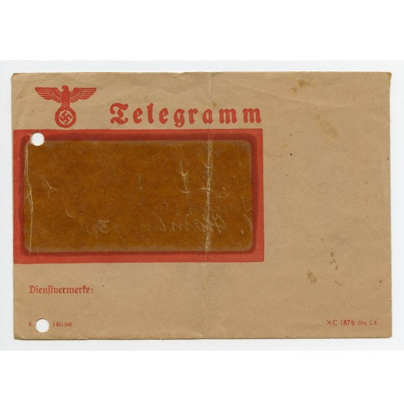 Original Third Reich Telegram envelope