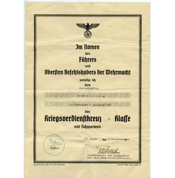 War merit cross 2nd class award document to P. Wilden, GR483, 263ID