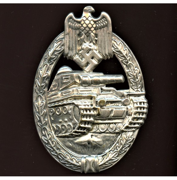 Panzer assault badge in silver by Otto Schickle