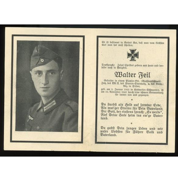 """Death card W. Feil, Pionier Btl """"Grossdeutschland"""""""