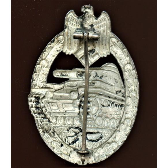 """Panzer assault badge in silver by F.W. Assmann & Sohn """"A"""""""