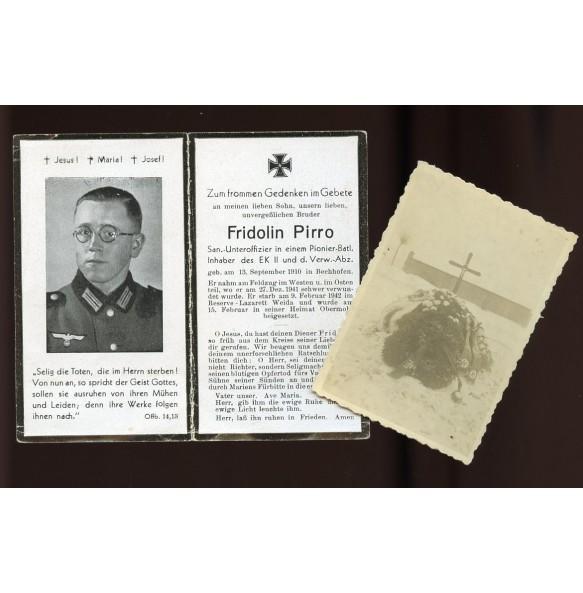 Death card to F. Pirro Pionier Btl, EK2 + photo
