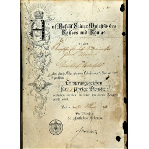 WW1 award document for 25 year service medal 1915