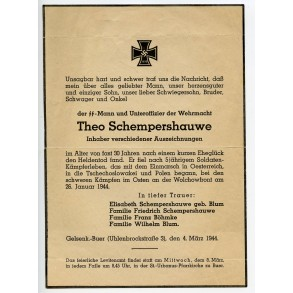 """Large SS death card to SS """"Uffz"""" Theo Schempershauwe"""