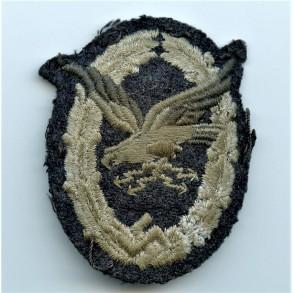 Luftwaffe radio operator / airgunner badge in cloth, padded