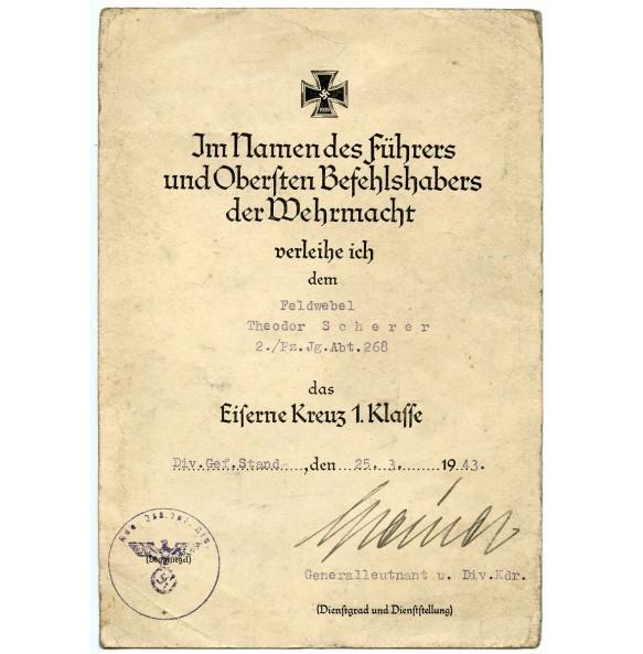 Iron cross 1st class award document to Feldw. T. Scherer, Pz. Jg. Abt 268