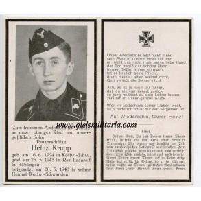 Death card to Pz. Schütze H. Krupp