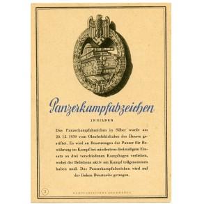 """Period post card """"Panzerkampfabzeichen"""""""