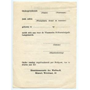 """Flemish SS """"Langemark"""" recruitment flyer by Ersatzkommando der W-SS Wetstraat Brussel"""