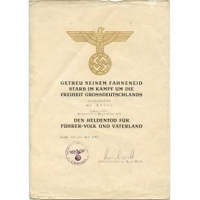"""""""Heldentod"""" document to Max Düben, G.R. 105"""
